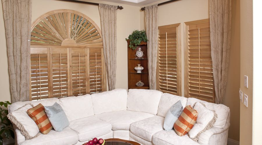 Sunburst Arch Ovation Wood Shutters In Jacksonville Living Room