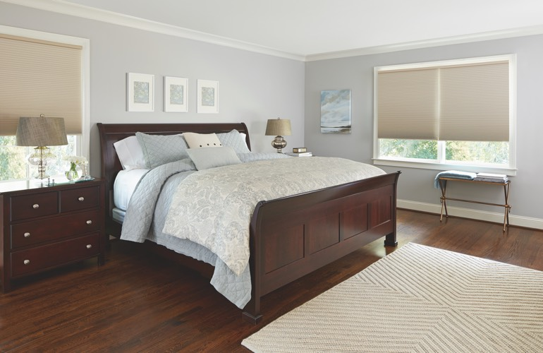 Pull-down shades in a Jacksonville bedroom.