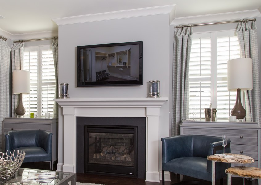 tv room Jacksonville faux wood shutters