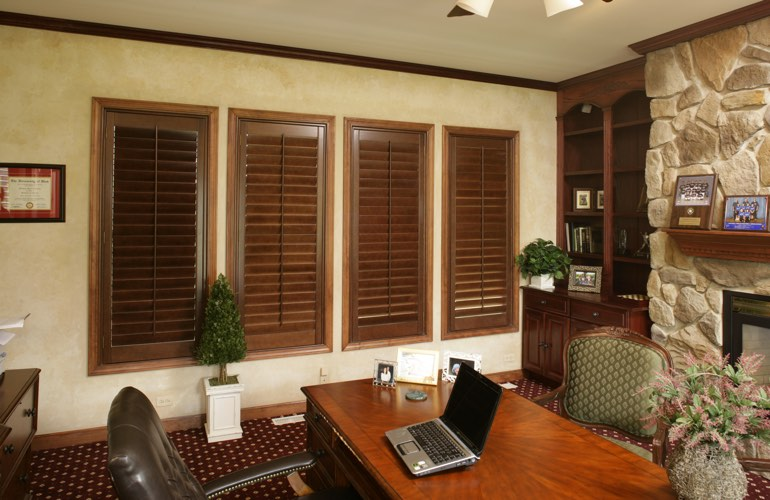 Hardwood plantation shutters in a Jacksonville home office