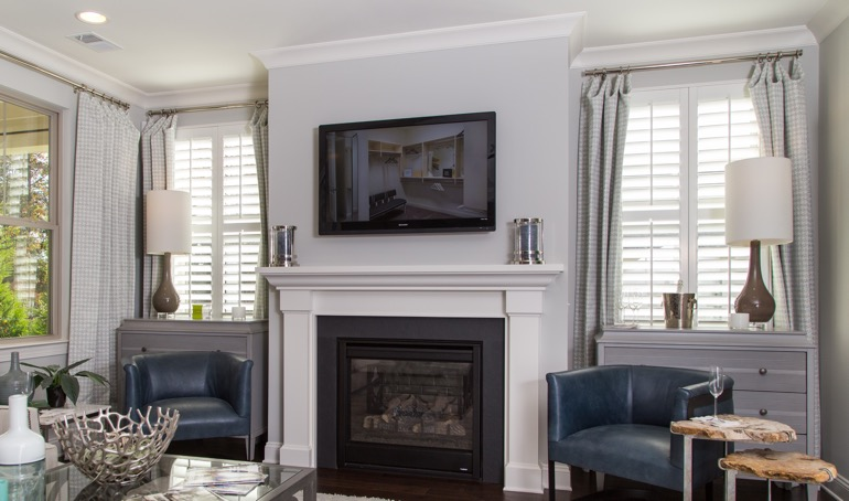 Jacksonville mantle with plantation shutters.