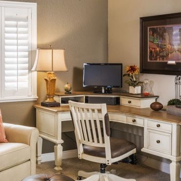 Jacksonville home office interior shutters.