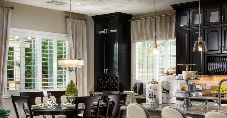 Jacksonville kitchen dining room with plantation shutters.
