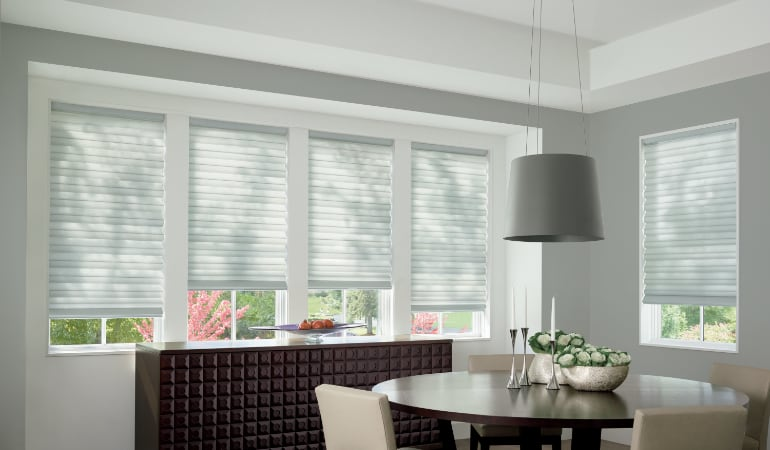 Cellular shades in a Jacksonville dining room.