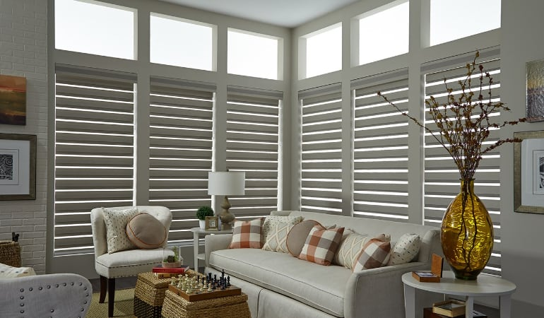 Motorized shades in a Jacksonville living room.