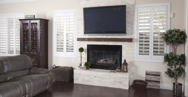 white shutters in Jacksonville living room