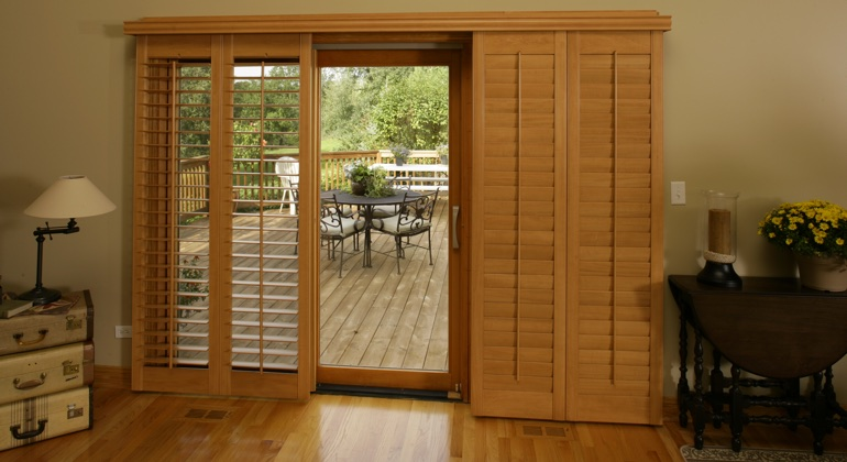 Jacksonville wood shutter sliding door