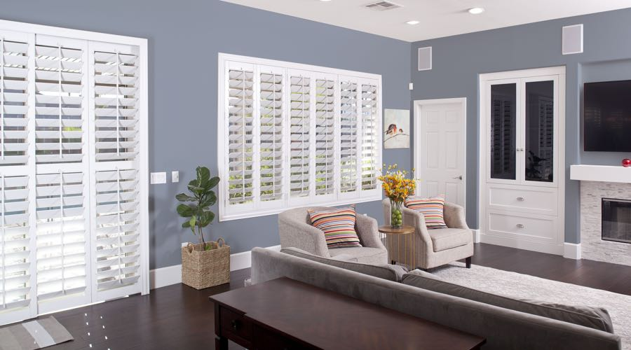 Faux Wood Shutters In blue Jacksonville Living Room