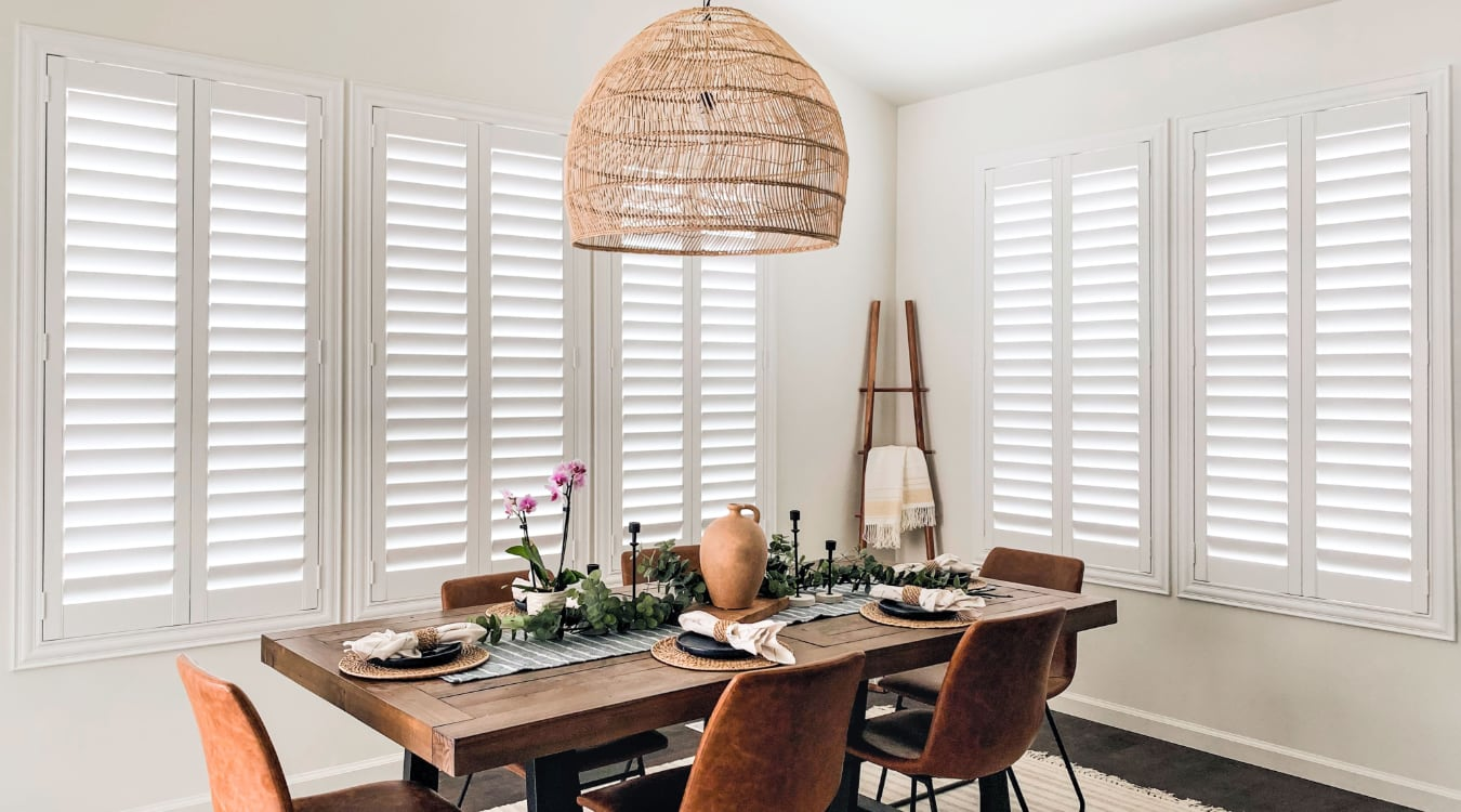 Plantation shutters in a dining room.