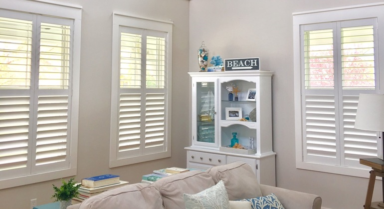 faux wood shutters in Jacksonville great room