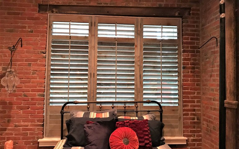 repurposed wood shutters in Jacksonville bedroom - Reclaimed Wood Shutters For Sale Sunburst Shutters Jacksonville, FL