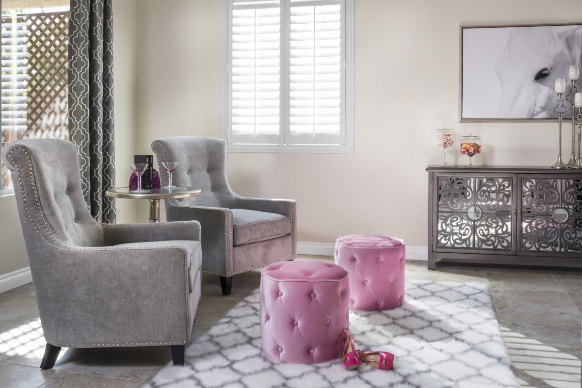 Jacksonville pink living room with shutters