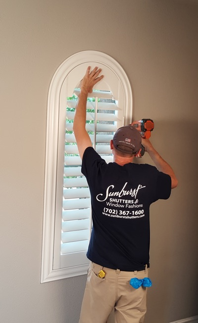 Shutter install in Jacksonville living room
