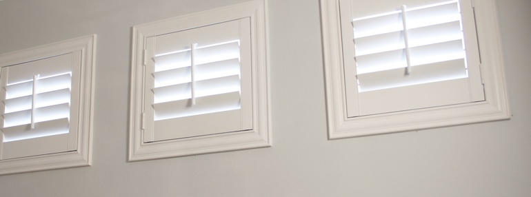 Small Windows in a Jacksonville Garage with Polywood Shutters