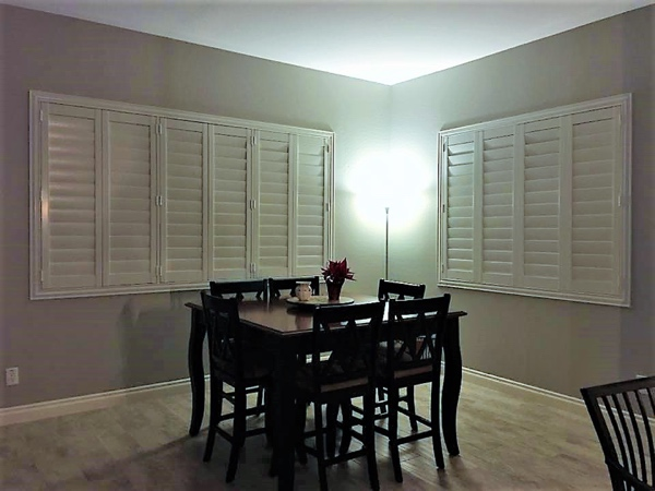 white shutters in dining room