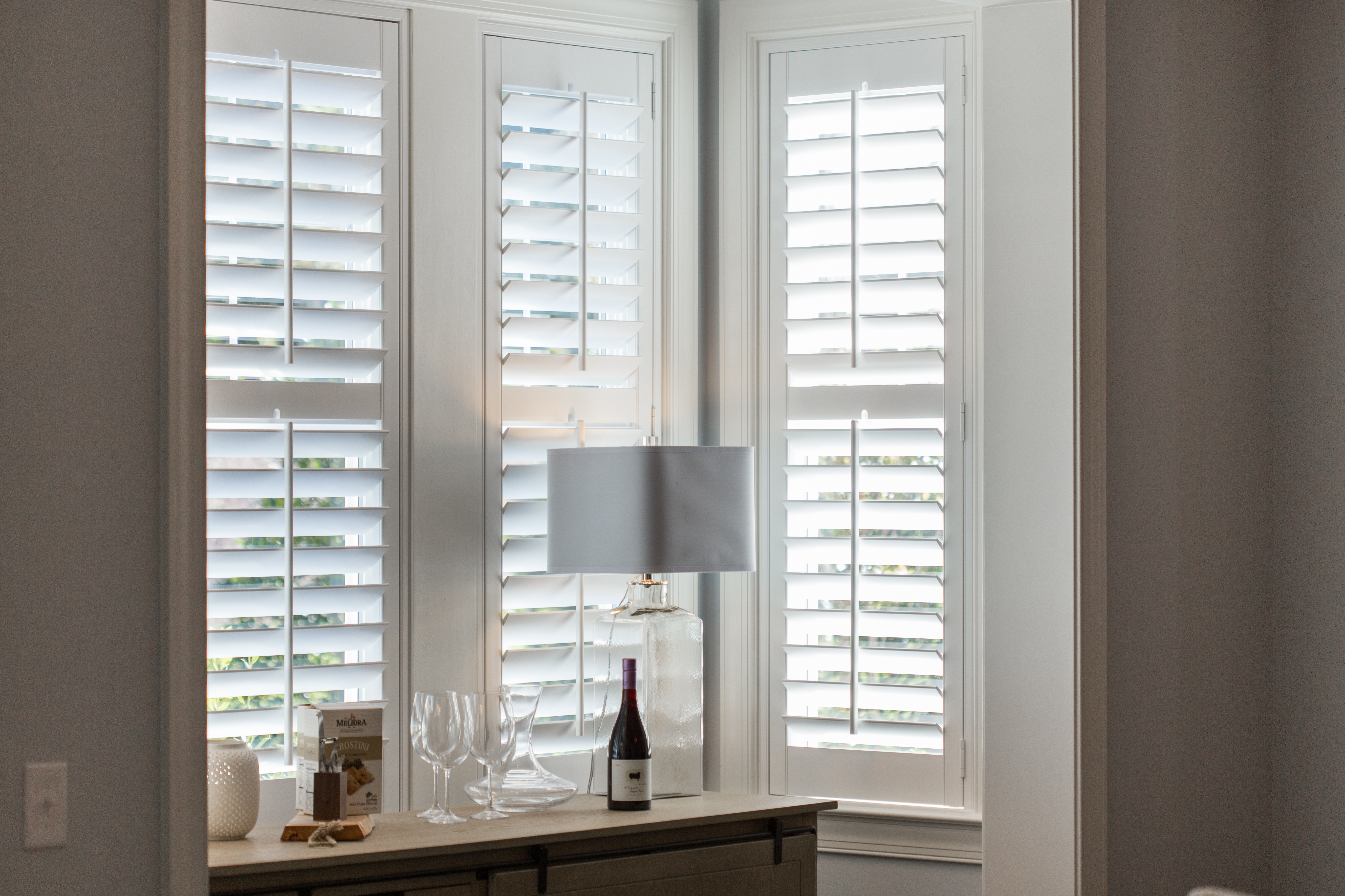 Plantation shutters in Jacksonville alcove.
