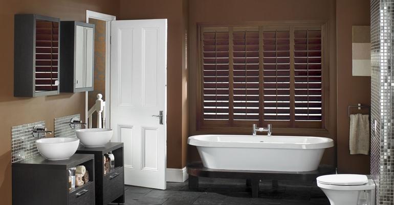 Jacksonville bathroom shutters wood stain