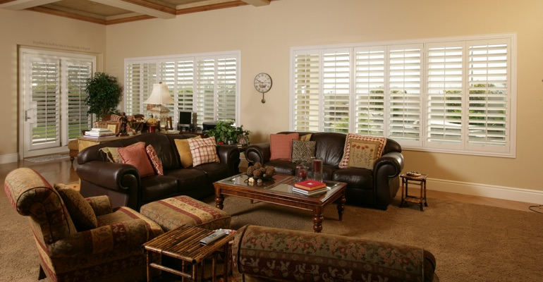Jacksonville basement with white shutters.