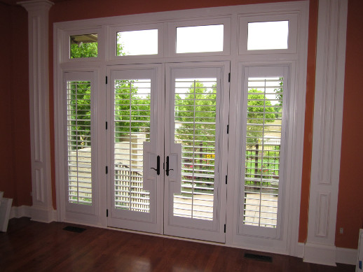 Jacksonville patio door with sidelight shutters