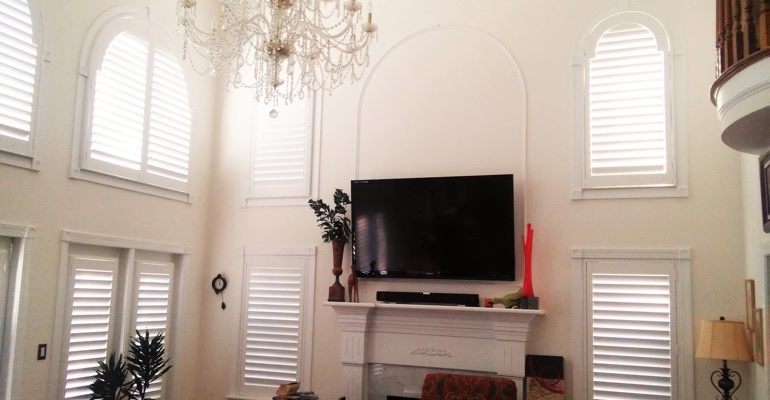 tall windows with shutters Jacksonville great room