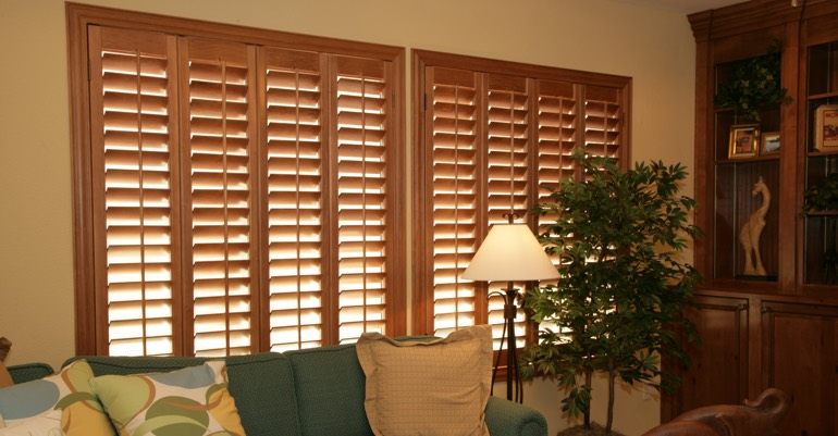 Hardwood shutters in Jacksonville living room.