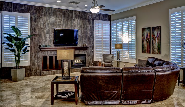 Plantation Shutters In A Jacksonville Living Room.